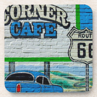 Route 66 Corner Cafe Wall Beverage Coaster