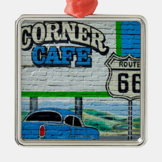 Route 66 Corner Cafe Wall Metal Ornament