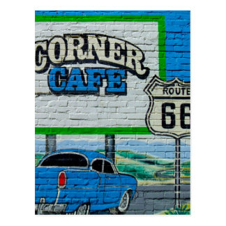 Route 66 Corner Cafe Wall Postcard