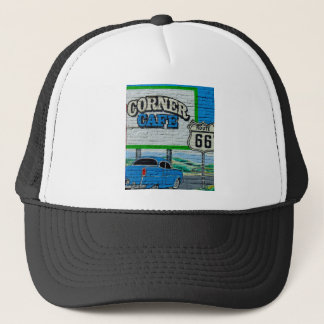 Route 66 Corner Cafe Wall Trucker Hat
