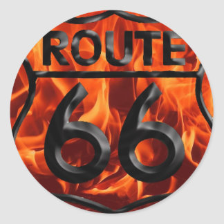 Route 66 Fire 1 Classic Round Sticker