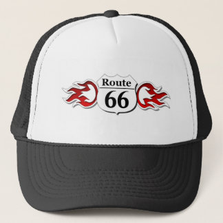 Route 66 Flames Trucker Hat