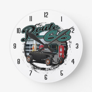 Route 66 Garage Round Clock