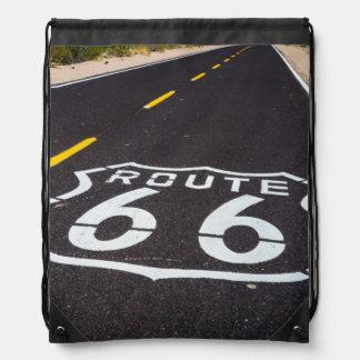 Route 66 highway marker, Arizona Drawstring Bag