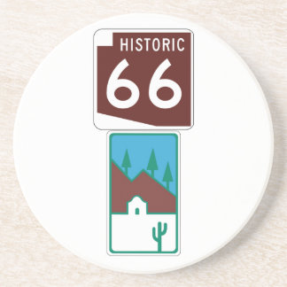 Route 66 - Historic 66 & Scenic Road Beverage Coasters