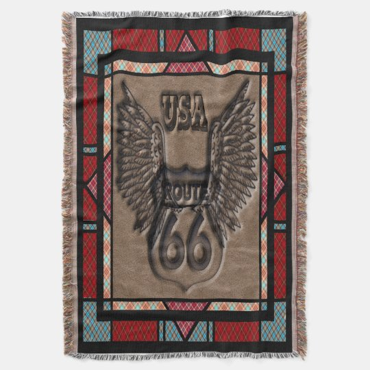 Route 66 historic route contry style throw blanket