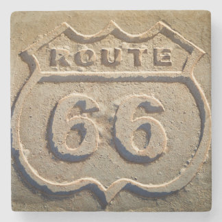 Route 66 historic sign, Arizona Stone Coaster