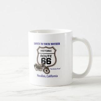 Route 66-Listen to your mother- Needles Basic White Mug