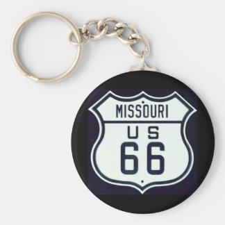 Route 66 Missouri Basic Round Button Keychain