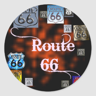 Route 66 Mix Classic Round Sticker