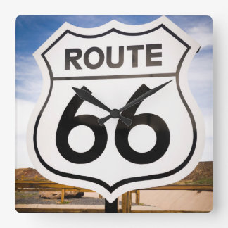Route 66 road sign, Arizona Square Wall Clock