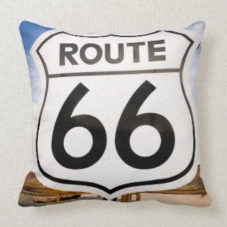 Route 66 road sign, Arizona Throw Pillow