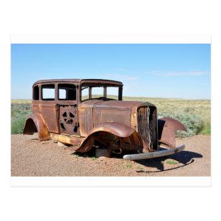 Route 66 Rusty Hot Rod Rt 66 USA Petroliana Car Tr Postcard