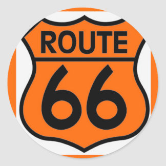 route 66 safety orange Customize this! Classic Round Sticker