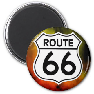 route 66 shield fire 2 inch round magnet