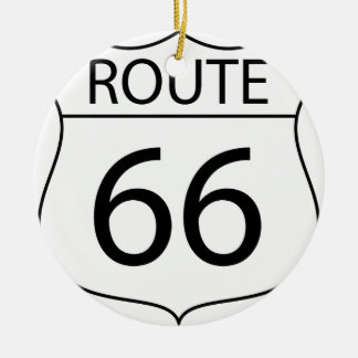 Route 66 Sign Drawing Ceramic Ornament