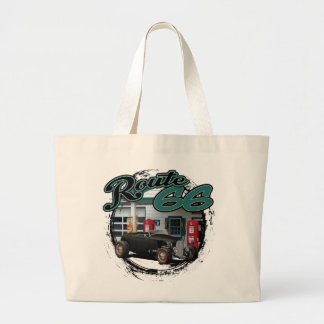 Route 66 Station Hot Rod Large Tote Bag
