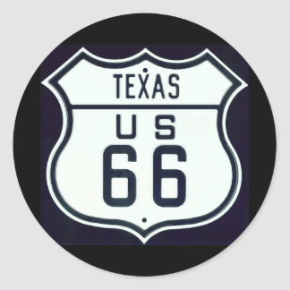 Route 66 Texas Classic Round Sticker