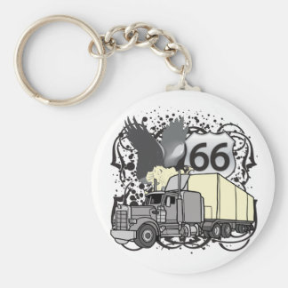 Route 66 Trucker Basic Round Button Keychain
