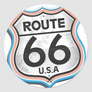 Route 66 USA Classic Round Sticker