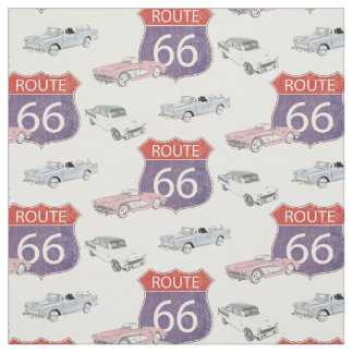 Route 66 vintage road sign with Classic Chevy Cars Fabric