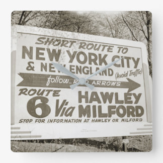 Route 6 Billboard Hawley Pennsylvania Milford PA Square Wall Clock