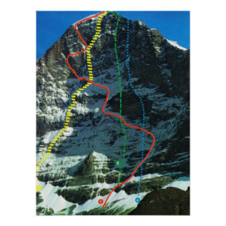 Routes for climbing the Eiger, Jungfrau range Poster