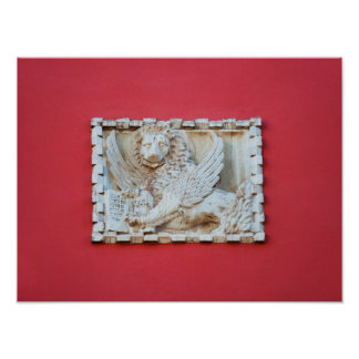 Rovinj Croatia Venetian winged lion plaque archite Poster