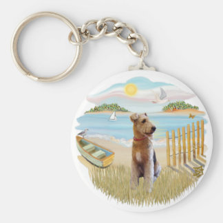 Row Boat - Airedale Basic Round Button Keychain