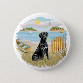 Row Boat - Black Labrador 2 Inch Round Button