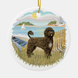 Row Boat - Portuguese Water Dog (brown) Ceramic Ornament