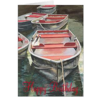 Row boat watercolor Birthday Card