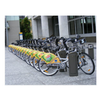 Row of bicycles postcard