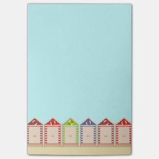 Row of Colorful Beach Huts Post-it Notes