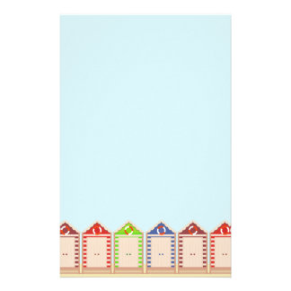 Row of Colorful Beach Huts Stationery