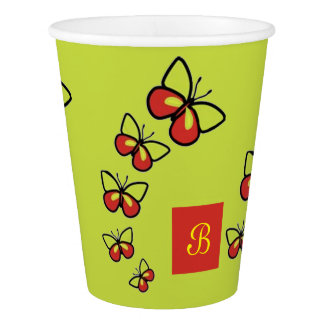 Row of Cute Butterflies Paper Cup
