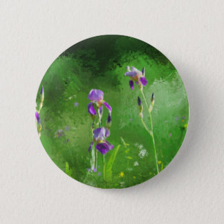 Row Of Irises 2 Inch Round Button