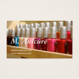 row of multi colored nailpolishes business card