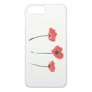 Row of poppies original watercolor painting iPhone 7 plus case