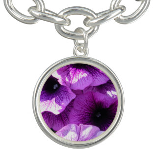 Row of Purple Wave Petunias Bracelets