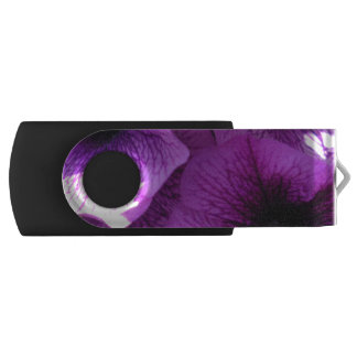 Row of Purple Wave Petunias Swivel USB 2.0 Flash Drive
