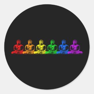 Row of Rainbow Buddhas Classic Round Sticker