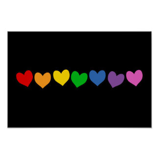 Row of Rainbow Hearts Poster