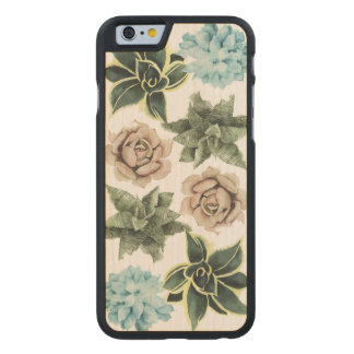 Row of Succulents Carved Maple iPhone 6 Case