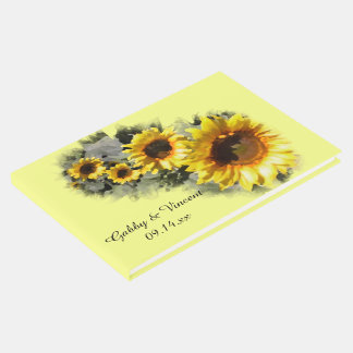 Row of Sunflowers Wedding Guest Book