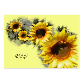 Row of Sunflowers Wedding RSVP Response Card Business Card Template