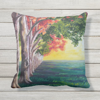 Row of Trees Outdoor Pillow