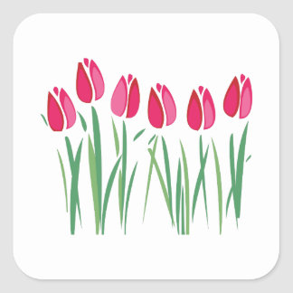 Row Of Tulips Square Sticker