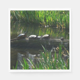 Row of Turtles Green Nature Photo Disposable Napkins