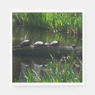 Row of Turtles Green Nature Photo Paper Napkin